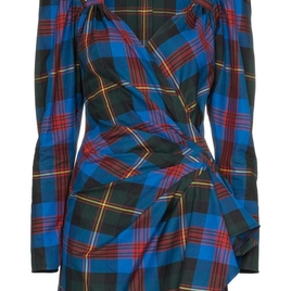 Attico - Tartan Mini Wrap Dress