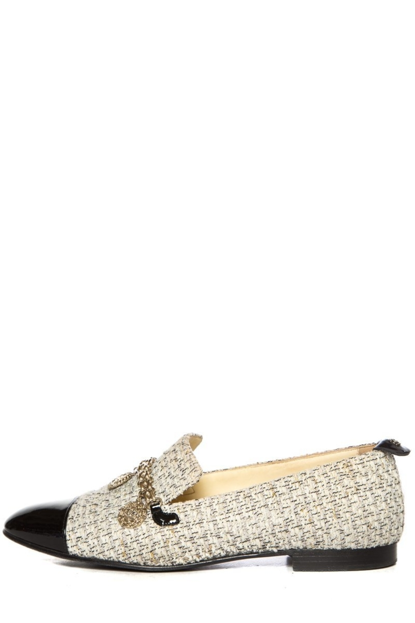 Chanel Chanel White & Gold Tweed Loafers SZ 38 Shoes
