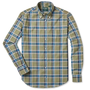Gitman Vintage OLIVE PLAID HOPSACK SHIRT Men's