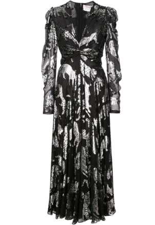 Carolina Herrera Black and Silver Wild Cats Dress Dresses