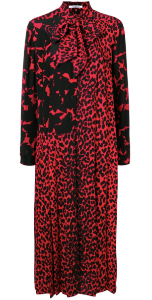 Givenchy Red Cheetah Printed Dress Dresses