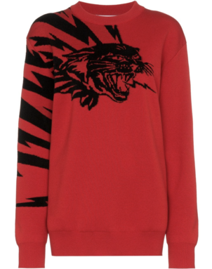 Givenchy Red and Black Cat Sweater