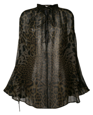 Saint Laurent Leopard Peasant Tunic Tops