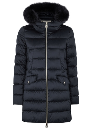 Herno Herno Navy Satin with Fur Trim Jacket Outerwear