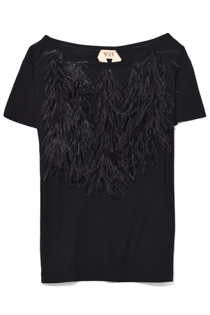 N°21 Feather Top in Black Tops