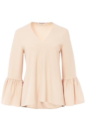 Tibi Structured Crepe V-Neck Ruffle Sleeve Top in Nude Tops