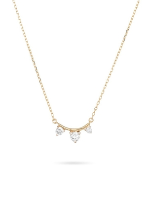 Adina Reyter 3 Diamond Amigos Curve Necklace in Yellow Gold Jewelry