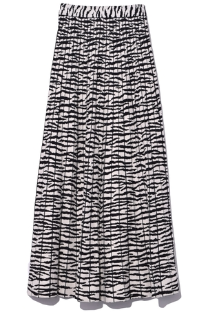 Proenza Schouler Knit Pleated Skirt in Off White/Black