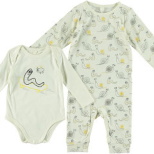 Stella McCartney Binky Tally 2 PC Snail Bodysuit Footie Box Set
