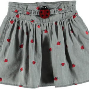 Stella McCartney Graciela Girls Chambray Skirt W Embroid Lady Bugs