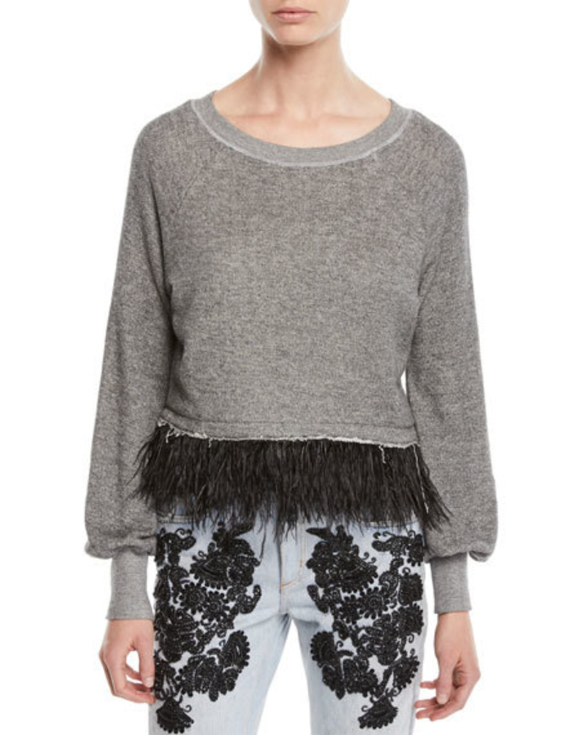 Le Superbe Feather Fringe Sweater Tops