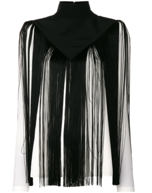 Givenchy Black Fringe White Top Tops