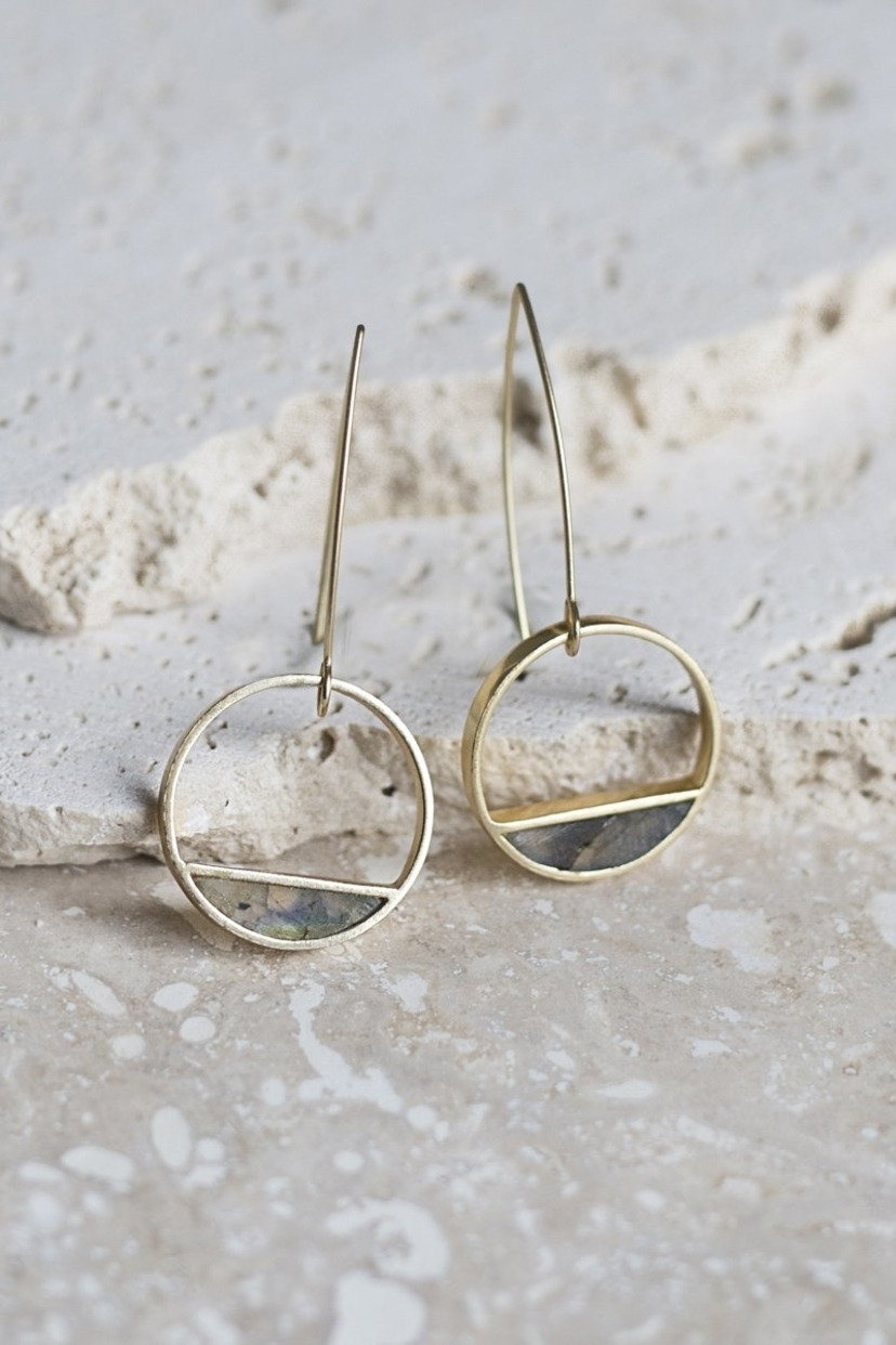 Joya Half Moon Bay Earrings - Labradorite Jewelry