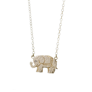 Victoria Cunningham 14k Gold Elephant Necklace with Diamond Jewelry