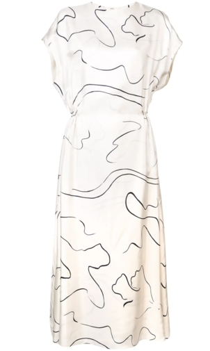The Row Ivory and Black Abstract Printed Dress Dresses