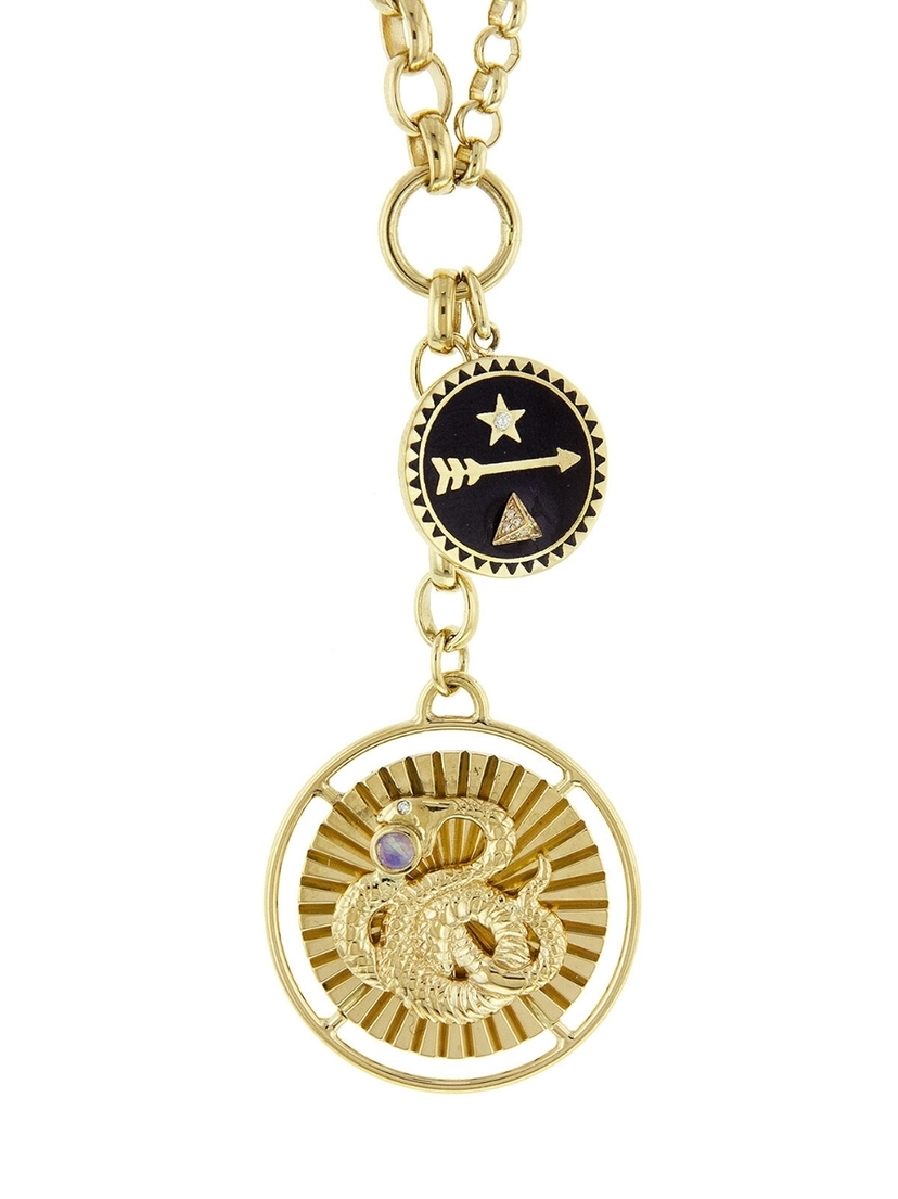 Foundrae Foundrae Wholeness and Dream Medallion Mixed Belcher Necklace - Yellow Gold Jewelry