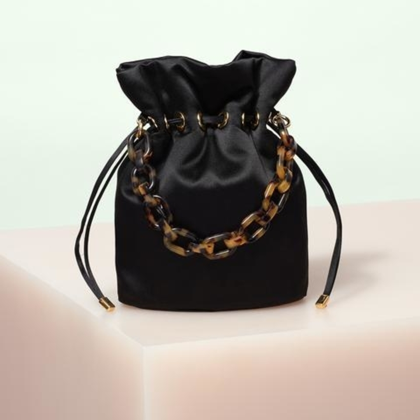 Edie Parker Shorty Satin in Black Bags