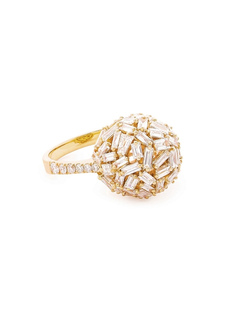 Suzanne Kalan Suzanne Kalan Baguette and Round Diamond Sphere Ring - Yellow Gold Jewelry
