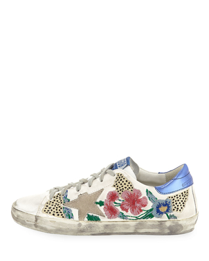 Golden Goose Deluxe Brand Golden Goose Floral Embroidered Superstar Sneaker Shoes