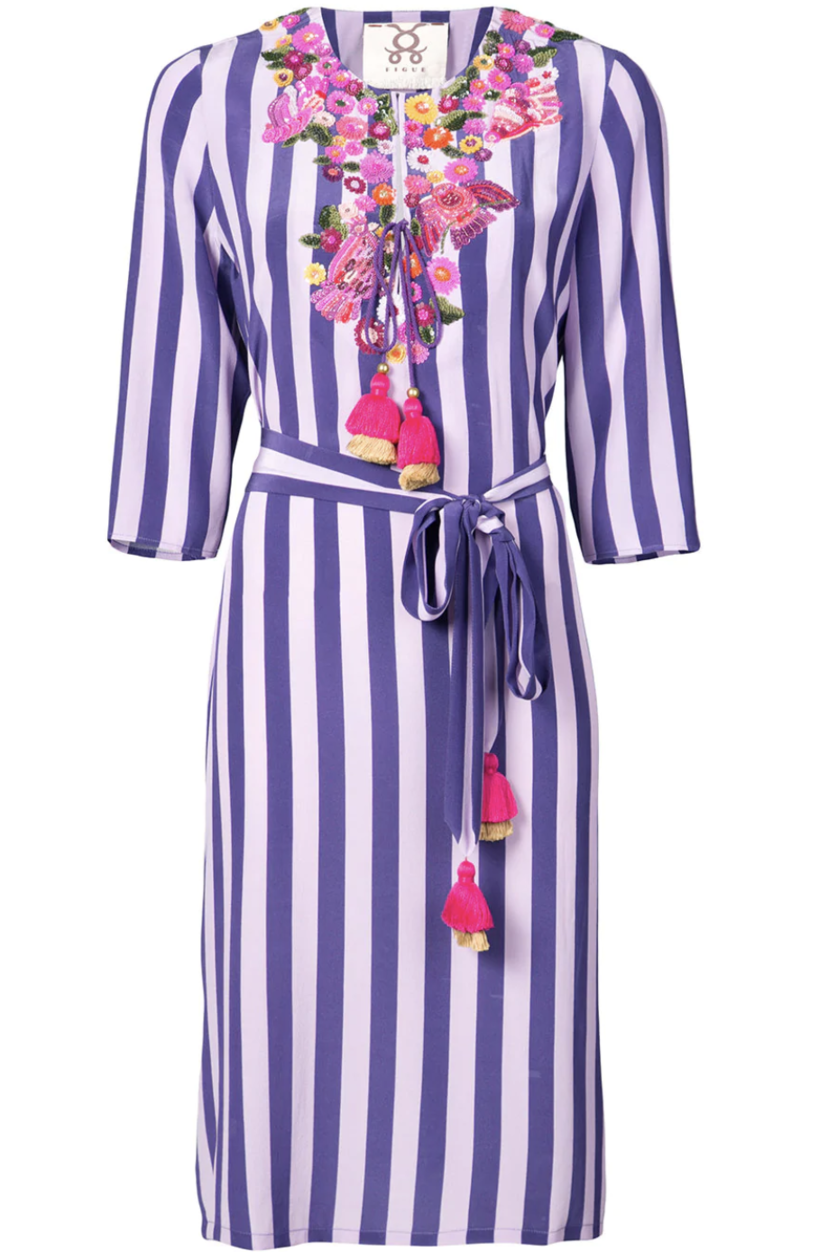 Figue Striped Embroidered Dress (Originally $1,395) Dresses Sale