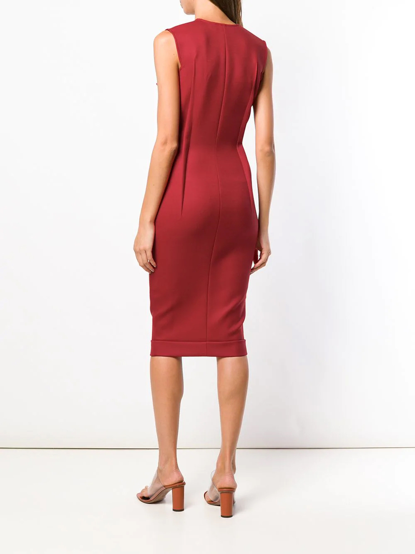 Victoria Beckham V-Neck Fitted Dress Dresses