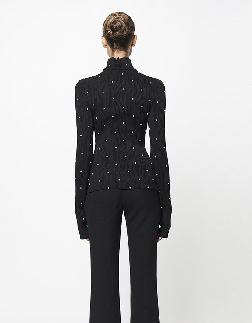 Prabal Gurung Miko Turtleneck with Pearls Tops