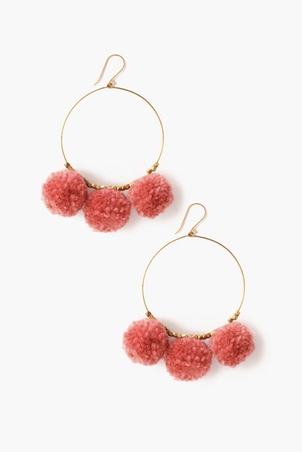 Chan Luu Breast Cancer Pom Pom Hoop Earrings (+More Colors) Jewelry