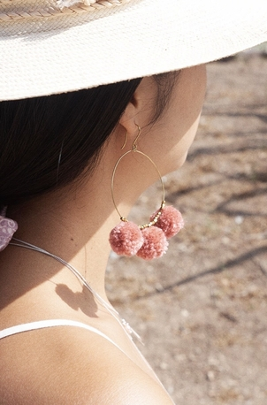 Chan Luu Breast Cancer Pom Pom Hoop Earrings Accessories Jewelry