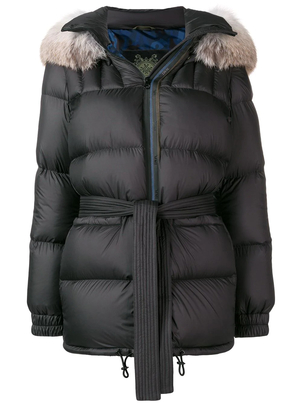 Mr. & Mrs. Italy Black Down Parka with Fox Hood Outerwear