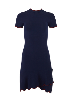 Shoshanna Navy Pine Flounce Dress Dresses