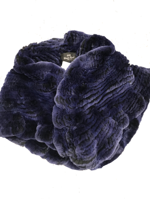 Diana Rosh Navy Fur Wrap Accessories