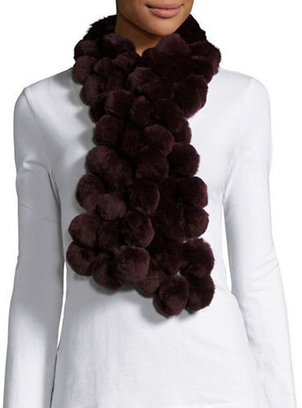 Diana Rosh Burgundy Fur Scarf Accessories