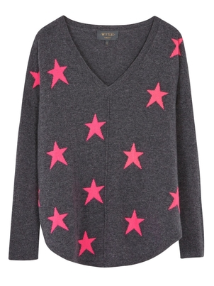 Wyse London Emilie Large Pink Star Sweater Tops