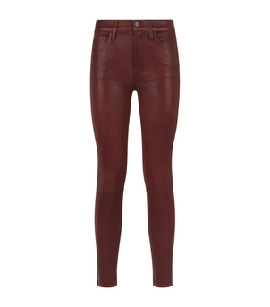 FRAME Wine Coated Skinny Jeans Pants