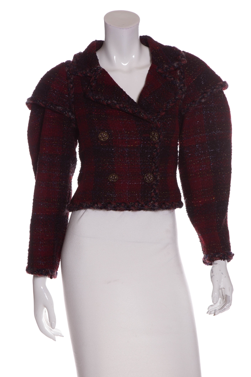 Chanel Chanel Burgundy Long Sleeve Tweed Cropped Jacket SZ 34 Outerwear