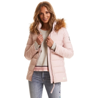 Pink Winterland Puffy Coat with Faux Fur Collar