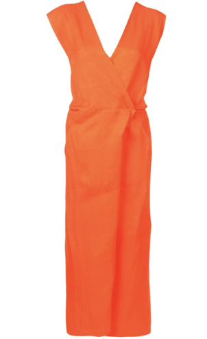 Zero + Maria Cornejo Orange V-Neck Wrap Dress Dresses