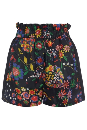 Tibi Tech Floral Pull On Paperbag Shorts in Navy Multi