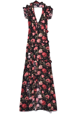 R13 Ruffle Slit Dress in Black Large Floral Dresses