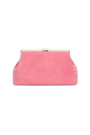 Mansur Gavriel Suede Volume Clutch in Blush Bags