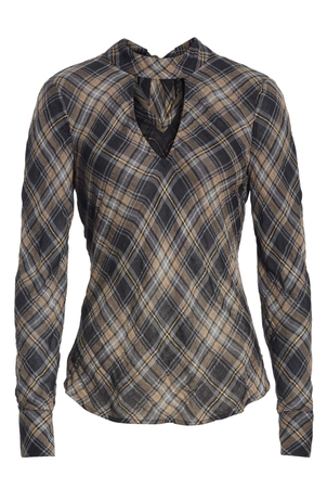 Veronica Beard Wade Plaid Top Tops