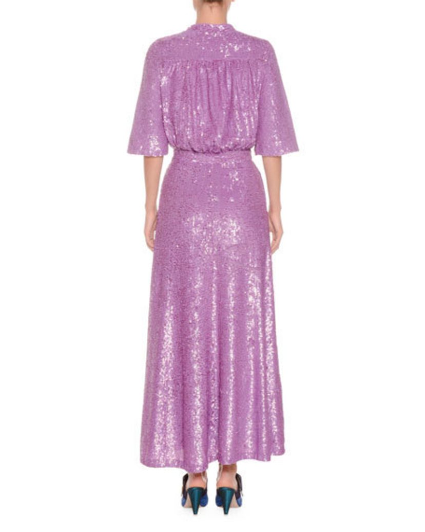 Attico Mock Neck Short Sleeve Sequined Evening Gown Dresses