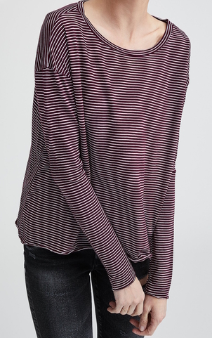 Frank & Eileen Red Stripe Core Long Sleeve Tops