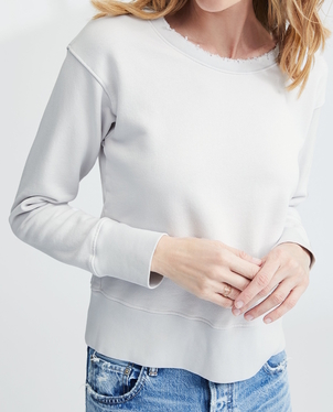 Frank & Eileen Ivory Crew Neck Fitted Boy Sweatshirt Tops