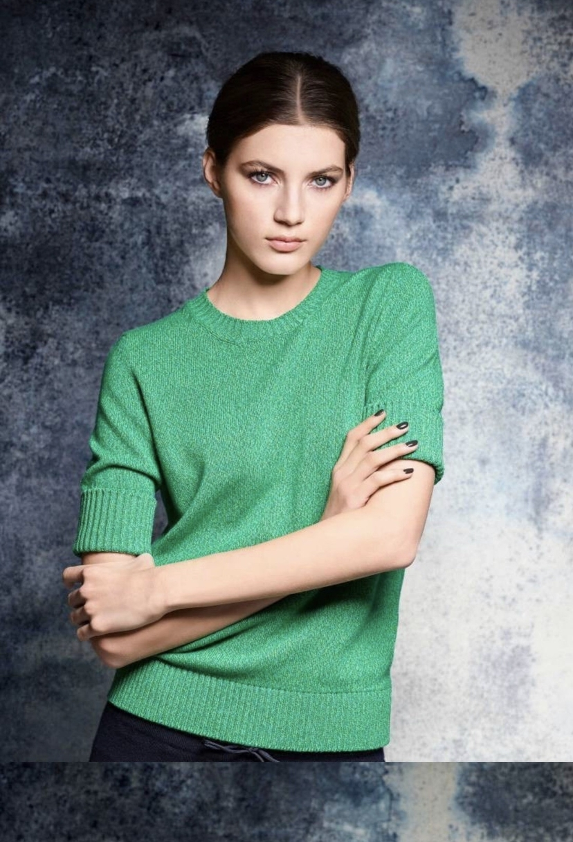 Barrie Cashmere Sweater in Green Melange Tops