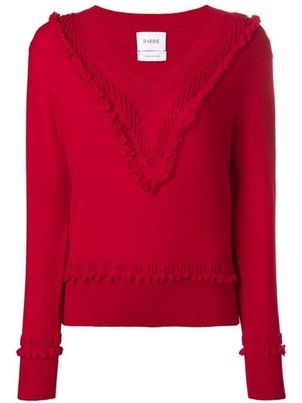 Barrie Barrie Cashmere Red Vee neck Tops