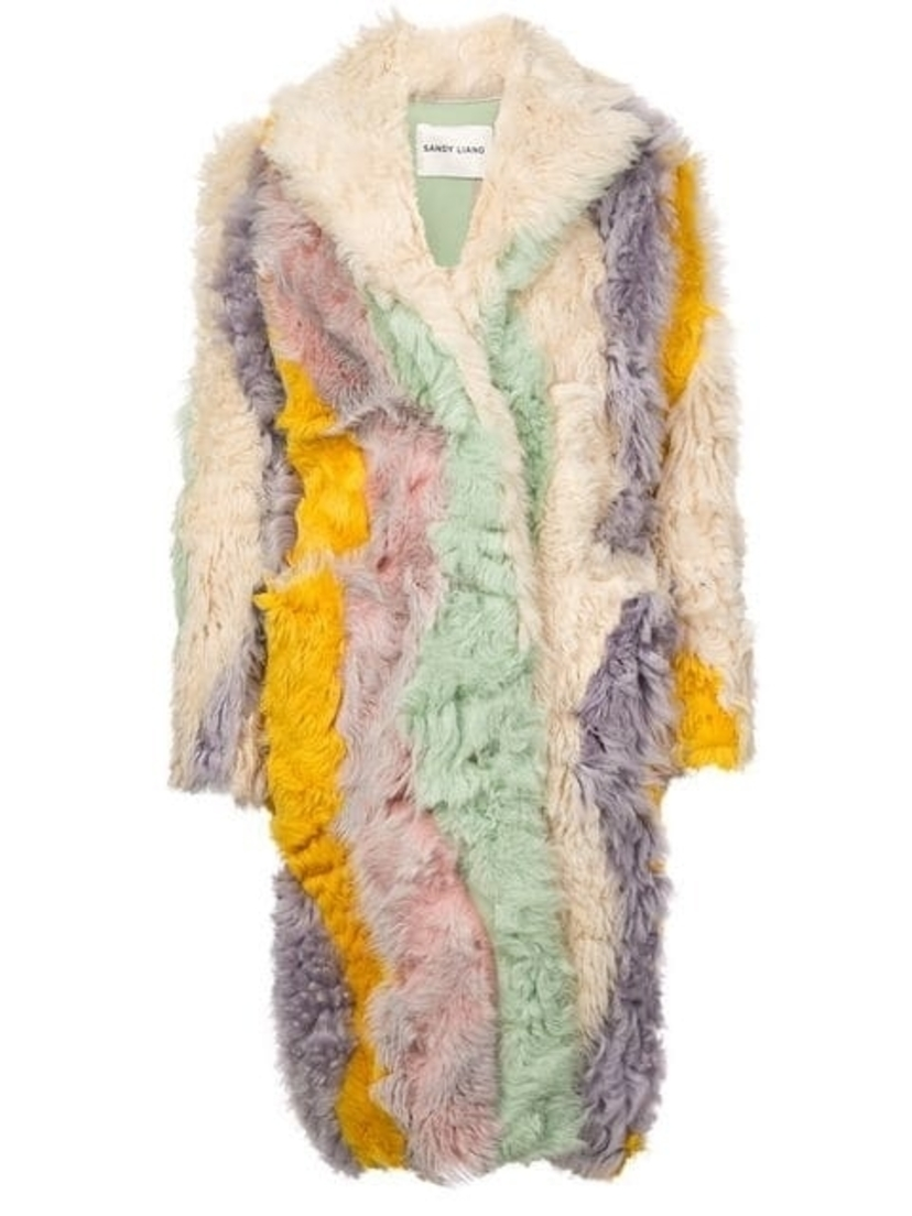 Sandy Liang Sandy Liang - Rainbow Striped Shearling Coat Outerwear