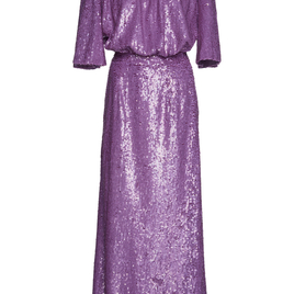 Mock Neck Short Sleeve Sequined Evening Gown