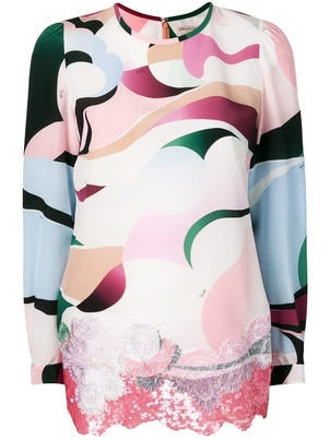 Emilio Pucci Printed Lace Blouse Tops