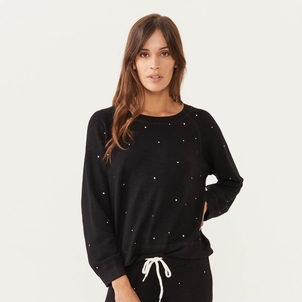 MONROW Monrow Supersoft  Rhinestone Sweatshirt Tops